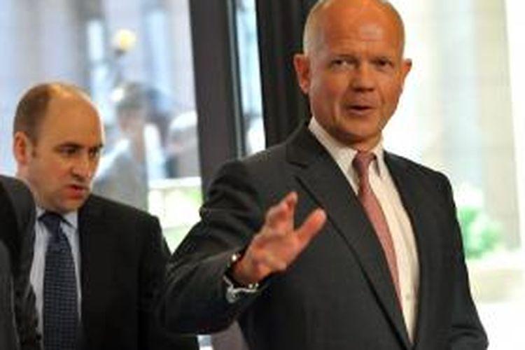Menteri Luar Negeri Inggris William Hague. Gambar diambil saat Hague tiba dalam forum pertemuan para menteri luar negeri Uni Eropa di Belgia, Rabu (21/8/2013).