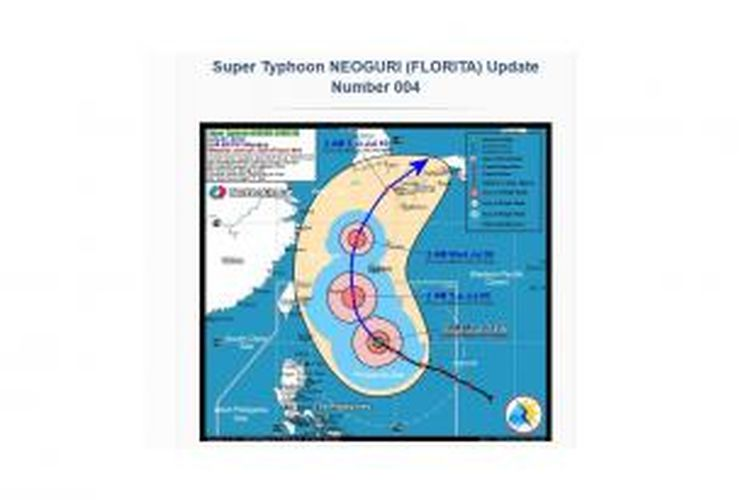 Jepang, Selasa (8/7/2014), bersiaga menghadapi kedatangan Topan Neoguri, topan terbesar dalam beberapa dekade terakhir yang diperkirakan akan melintasi negara itu. Kecepatan angin diperkirakan mencapai 198 kilometer per jam hingga 270 kilometer per jam.