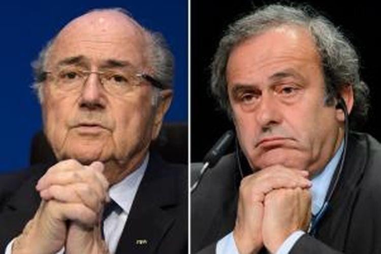 Presiden FIFA, Sepp Blatter (kiri), dan Wakil Presiden FIFA, Michel Platini.