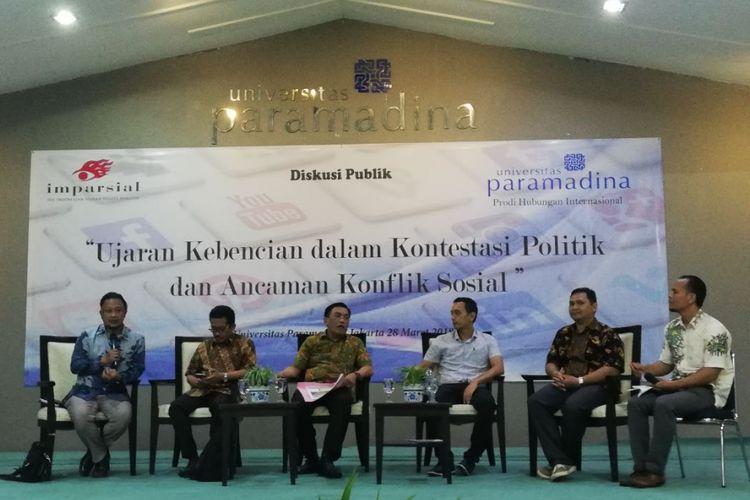 Diskusi Ujaran Kebencian dalam Kontestasi Politik dan Ancaman Konflik Sosial di Universitas Paramadina, Jakarta, Rabu (28/3/2018)