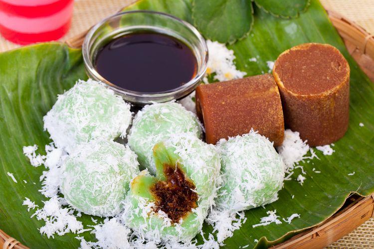Ilustrasi klepon, kue tradisional Indonesia.