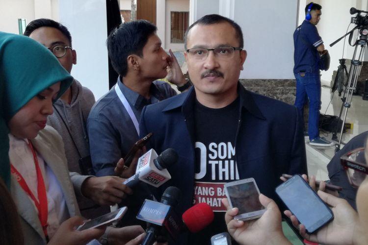 Juru bicara Badan Pemenangan Nasional pasangan Prabowo Subianto-Sandiaga Uno (BPN) Ferdinand Hutahaean di Hotel Sultan, Jakarta, Minggu (17/2/2019)