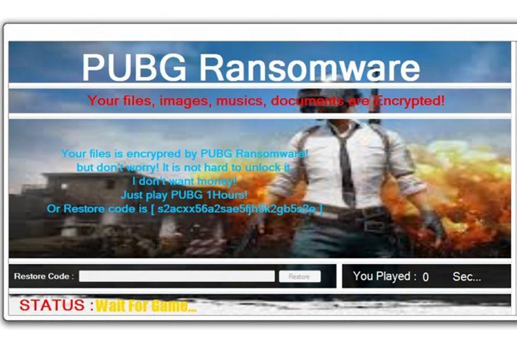 Layar yang ditampilkan PUBG Ransomware usai mengunci semua file dan folder di komputer korban.