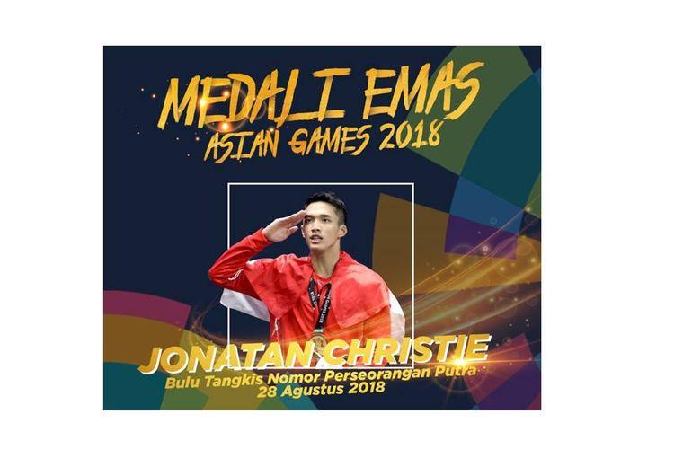 Peraih emas ke-23, Jonatan Christie, dari nomor tunggal putra bulutangkis.