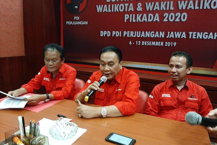 Ketua DPD PDIP Jawa Tengah Bambang Wuryanto saat konferensi pers di Panti Marhaen Semarang, Kamis (12/12/2019)
