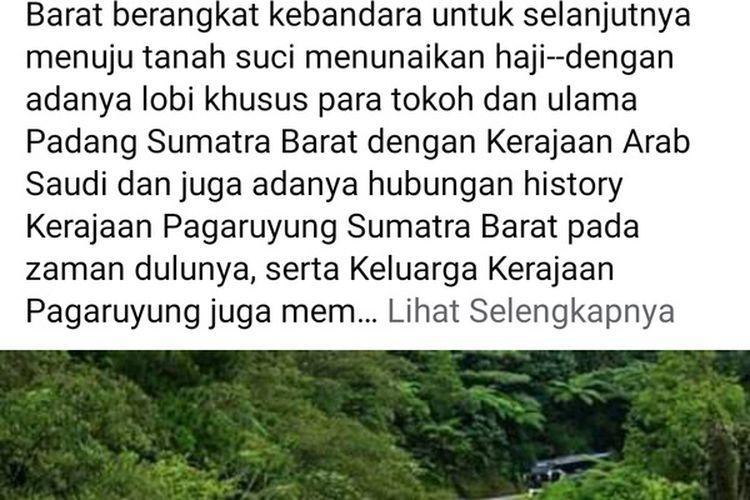 Facebook Adi Warsito yang menampilkan berita hoaks soal keberangkatan jemaah haji asal Padang ke Tanah Suci tahun 2020