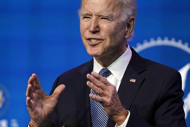 Presiden terpilih AS Joe Biden berbicara dalam sebuah acara di teater The Queen di Wilmington, Delaware, Kamis, 7 Januari 2021.