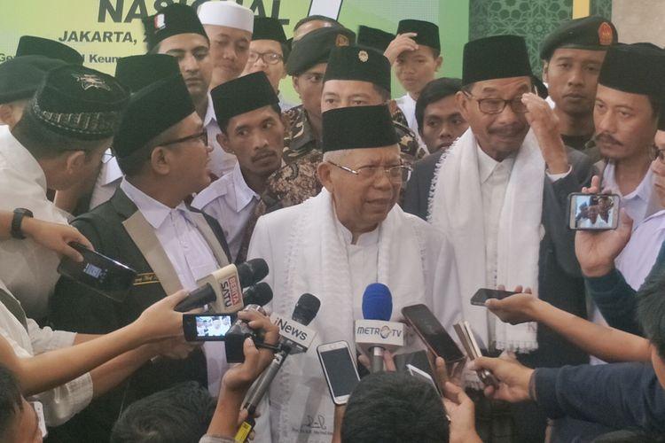 Calon wakil presiden nomor urut 01 Maruf Amin saat menghadiri Kongres Santri dan Rapat Kerja Nasional, Forum Santri Nasional, di Jakarta Convention Center (JCC), Jakarta Selatan, Sabtu (30/3/2019).