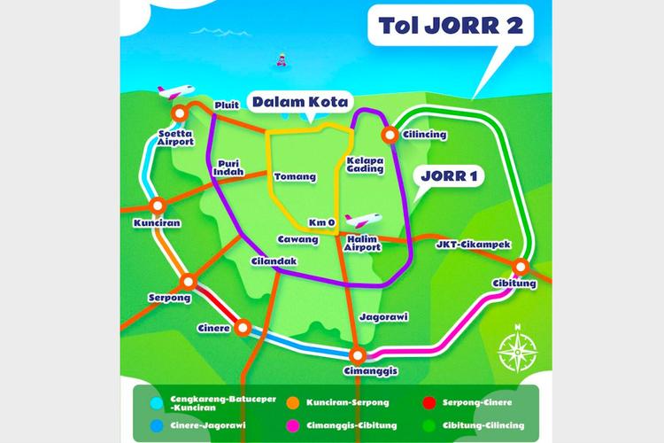 Peta Jaringan Jalan Tol Jakarta Outer Ring Road (JORR) 2