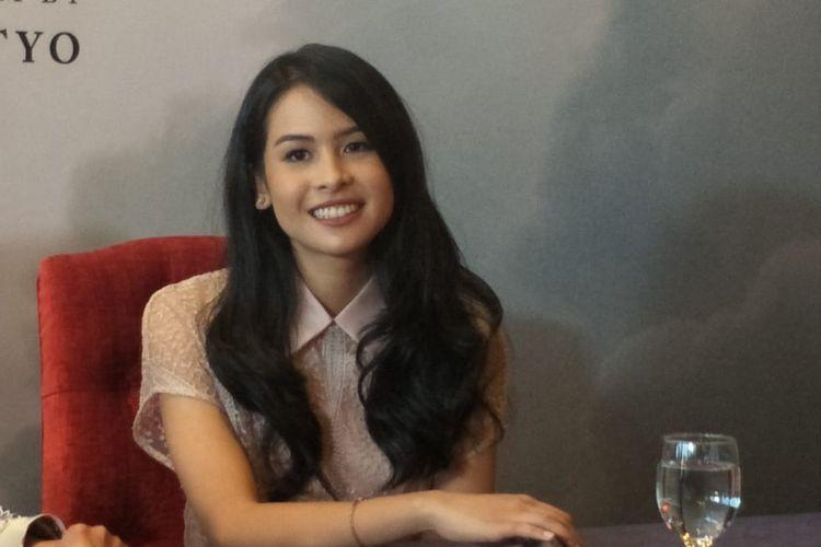 Maudy Ayunda dalam jumpa pers film Habibie & Ainun 3 di MD Place, Setiabudi, Jakarta Selatan, Kamis (4/4/2019).