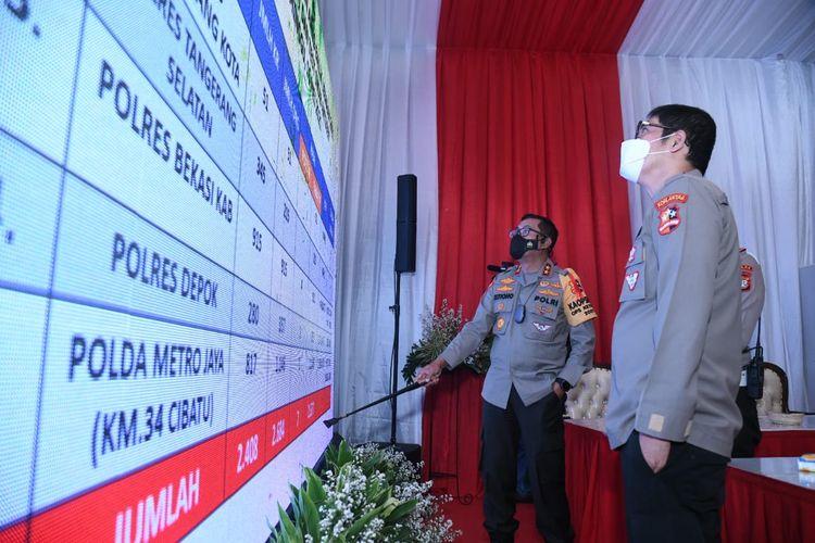 Kepala Korps Lalu Lintas (Kakorlantas) Polri Irjen (Pol) Istiono di KM 33 Tol Cikampek, Jawa Barat, Senin (18/5/2021).