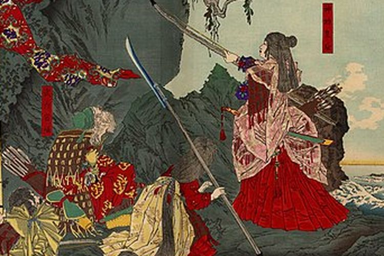 Ilustrasi Permaisuri Jingu yang menginjakkan kaki di Korea, sebuah lukisan oleh Tsukioka Yoshitoshi pada 1880. [Via KCP Internastional]