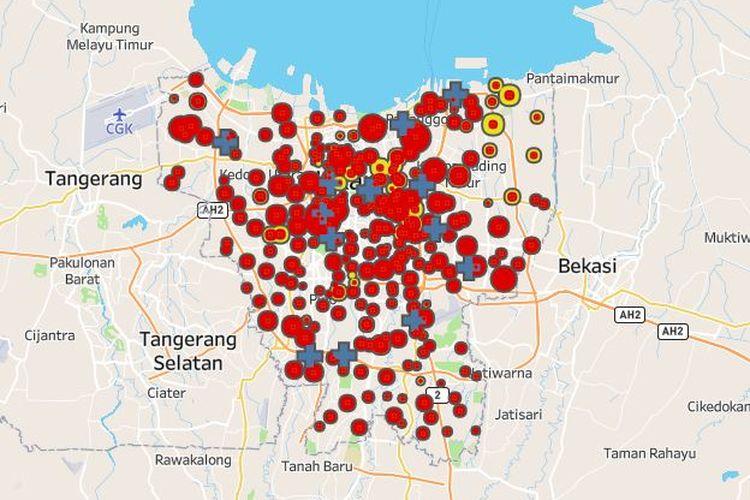 Peta persebaran virus corona di Jakarta, dengan data per tanggal 1 Mei 2020.