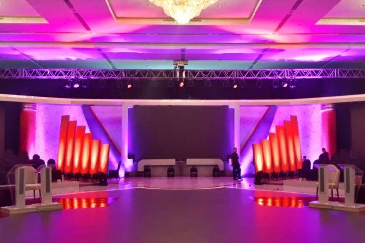 Panggung debat pertama Pilpres 2019 di Hotel Bidakara, Jakarta Selatan