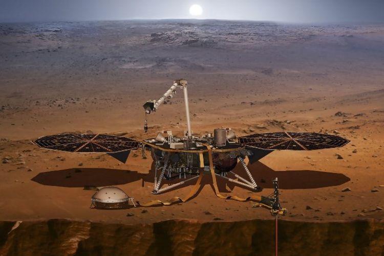 Ilustrasi misi InSight yang akan segera diluncurkan ke Mars oleh NASA. Misi ini akan mengeksplor bagian dalam perut Mars.