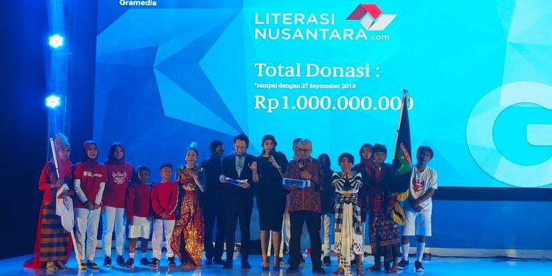 Donasi bagi para penggiat literasi terkumpul hingga 1 milyar rupiah hingga tanggal 27 September 2018 dan diumumkan dalam GRCC 2018 (28/9/2018)