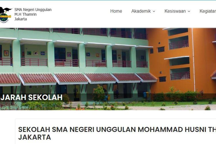 Tampilan website SMA Negeri Unggulan M.H. Thamrin.