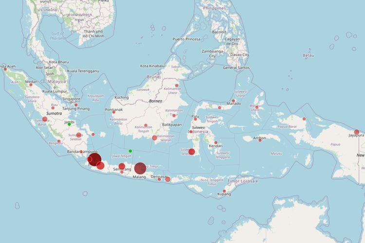Peta sebaran kasus positif Covid-19 di Indonesia. Masing-masing titik mewakili satu provinsi.