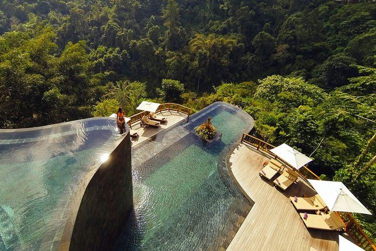 Peringkat ke sembilan penginapan dengan kolam renang instagrammable, Ubud Hanging Gardens, Bali, Indonesia.