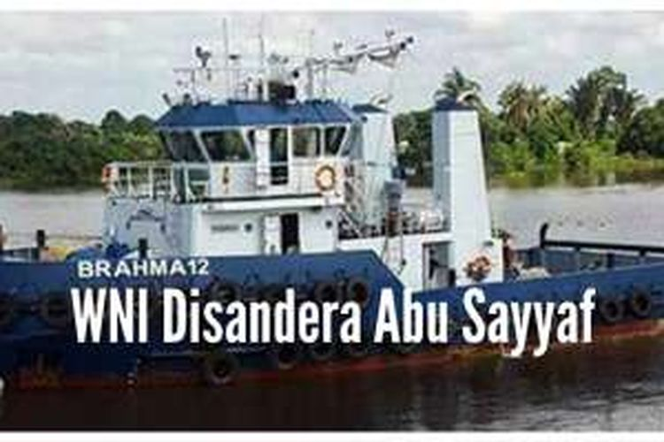 Kapal Tug Boat Brahma 12 yang diduga dibajak Kelompok Milisi Abu Sayyaf.