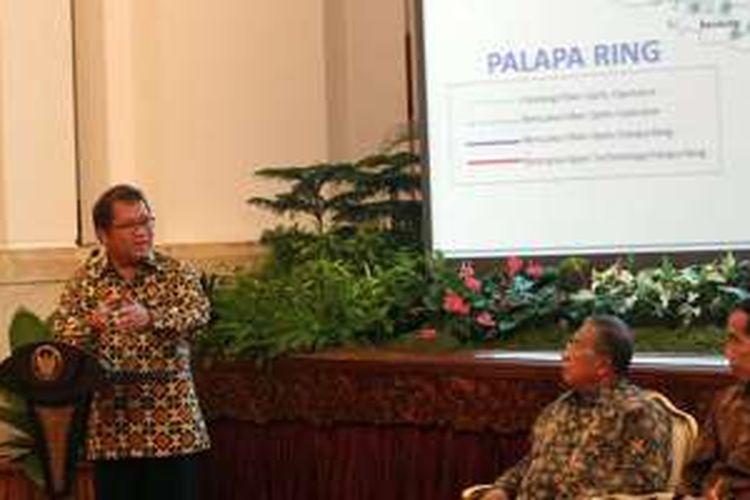 Menkominfo Rudiantara di acara penandatanganan kerja sama Palapa Ring paket Timur di Istana Negara, Kamis (29/9/2016).