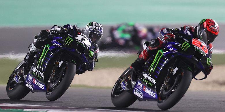 Dua pebalap tim Monster Energy Yamaha, Maverick Vinales (kiri) dan Fabio Quartararo (kanan).