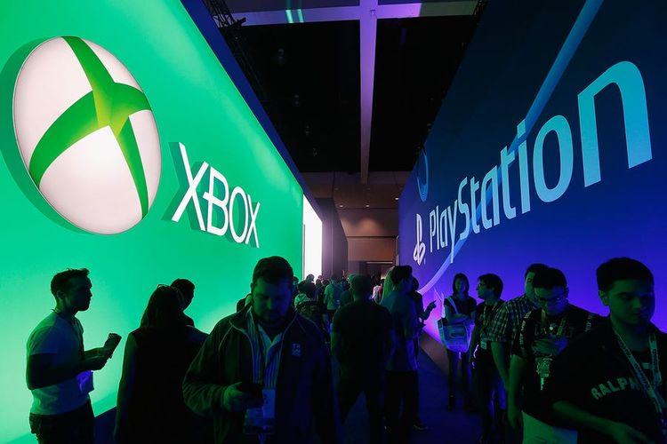 Ilustrasi logo Xbox dan PlayStation