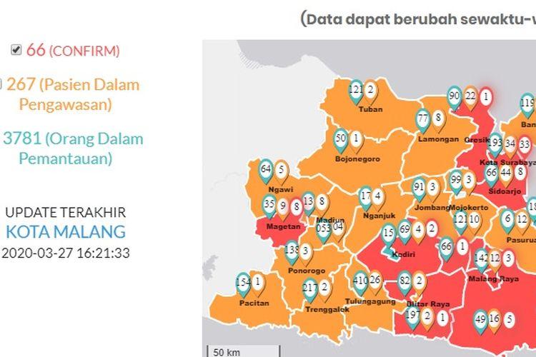 Jumlah kasus positif Covid-19 di Jawa Timur bertambah per Jumat (27/3/2020) pukul 16.00 WIB. Dari yang semula 59 orang, bertambah 7 orang menjadi 66 kasus.