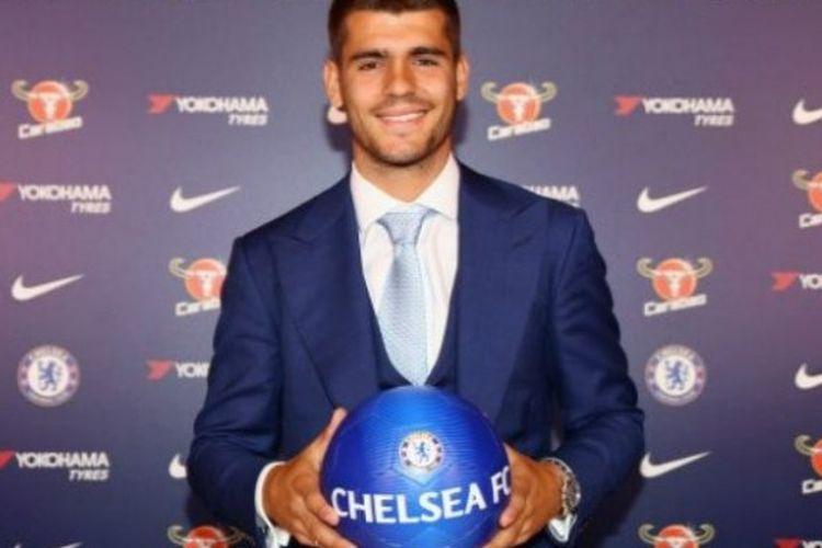 Alvaro Morata resmi menjadi pemain Chelsea, Jumat (21/7/2017).