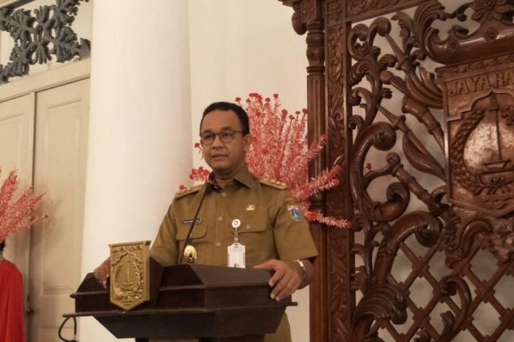 Gubernur DKI Jakarta Anies Baswedan di Balai Kota DKI Jakarta, Jalan Medan Merdeka Selatan, Senin (19/11/2018).