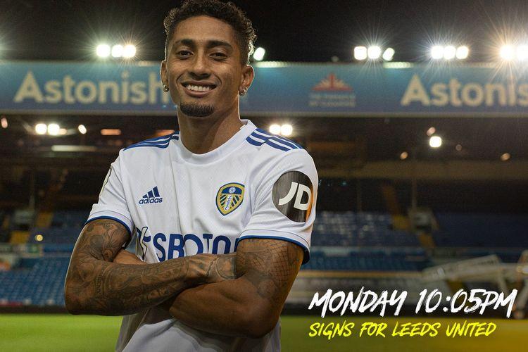 Pemain baru Leeds United, Raphinha. Penyerang sayap asal Brasil itu didatangkan dari Rennes pada hari terakhir bursa transfer, Senin (5/10/2020).