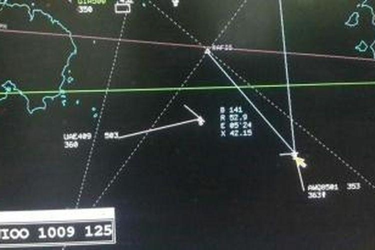 Bocoran data radar terakhir dari pesawat AirAsia berkode penerbangan QZ8501 sebelum hilang kontak pada Minggu (28/12/2014) pagi.