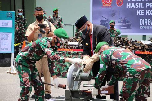 HUT TNI ke-75, Kodam XVI Pattimura Musnahkan 764 Senjata Api Sisa Konflik