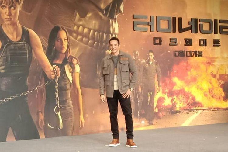 Gabriel Luna saat menghadiri press junket Terminator: Dark Fate di Four Seasons Hotel, Seoul, Korea Selatan, Senin (21/10/2019).
