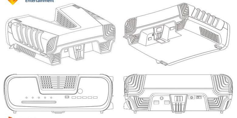 Ilustrasi paten Sony yang diduga sebagai PlayStation 5 dari segala sisi.