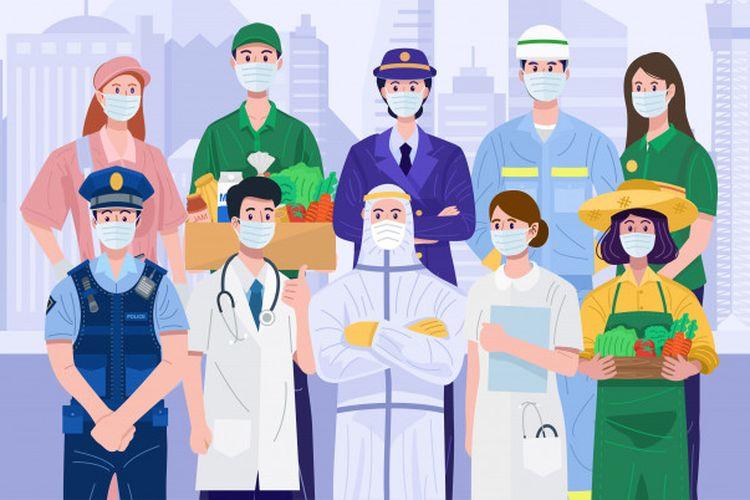 Ilustrasi profesi yang sangat berperan di masyarakat saat pandemi di garis depan.