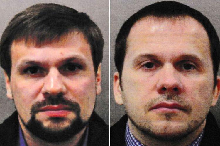 Ruslan Boshirov (kiri) dan Alexander Petrov. Dua pria itu diduga merupakan tersangka percobaan pembunuhan menggunakan racun saraf terhadap mantan agen ganda Rusia di Salisbury, Inggris, 4 Maret lalu.