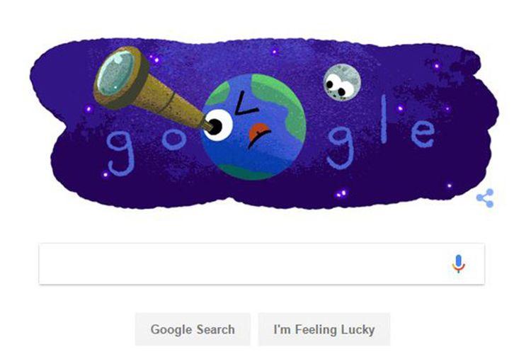 Doodle Google hari Kamis (23/2/2017) merayakan penemuan tujuh exoplanet serupa Bumi.