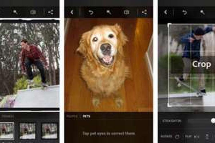 Tampilan aplikasi Photoshop Express