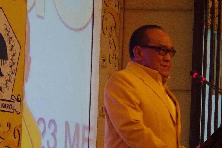 Ketua Dewan Pembina Partai Golkar Aburizal Bakrie pada acara Rapimnas Golkar di Balikpapan, Kalimantan Timue, Senin (22/5/1017).