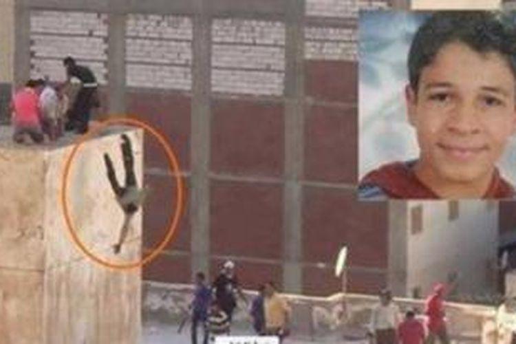 Foto ini menampilkan cuplikan peristiwa saat para pendukung Muhammad Mursi melemparkan dua orang pemuda anti-Mursi dari atap sebuah gedung di Alexandria, Mesir. Inset: Hamada Badr (19), salah seorang pemuda yang dilempar dari atas gedung.