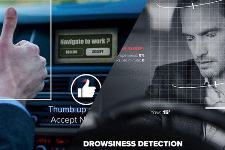 Ilustrasi perangkat sensor yang memonitor kondisi pengemudi di mobil.