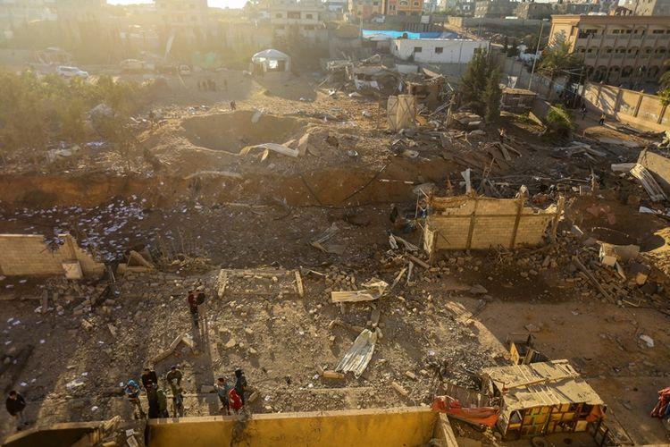 Titik lokasi fasilitas militer Hamas yang hancur dalam serangan udara militer Israel pada Sabtu (9/12/2017).