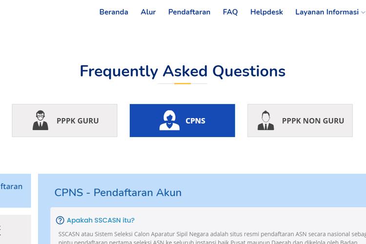 Tangkapan layar halaman depan situs sscasn.bkn.go.id/faq.