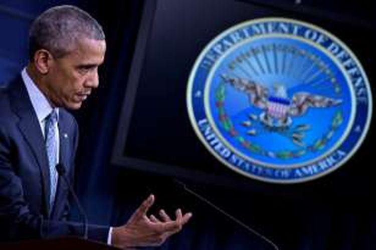 Presiden AS Barack Obama dalam jumpa pers di Pentagon, Kamis (4/8/2016).