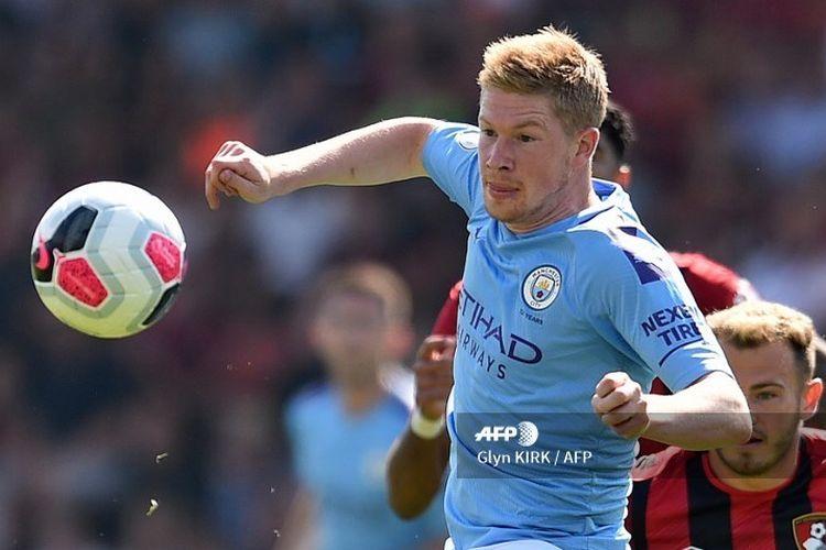 Gelandang Manchester City, Kevin De Bruyne, saat laga Bournemouth vs Man City pada pekan ketiga Liga Inggris 2019-2020.