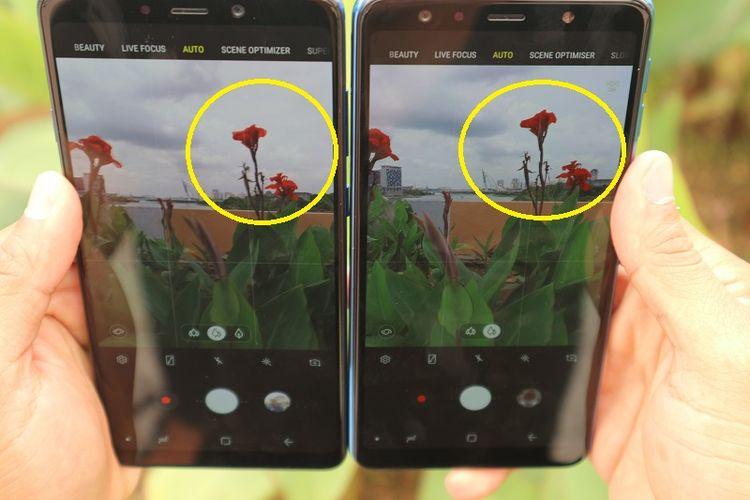 Tingkat kecerahan warna di Galaxy A9 (kiri) lebih tinggi dibanding Galaxy A7 (kanan) yang cenderung natural.