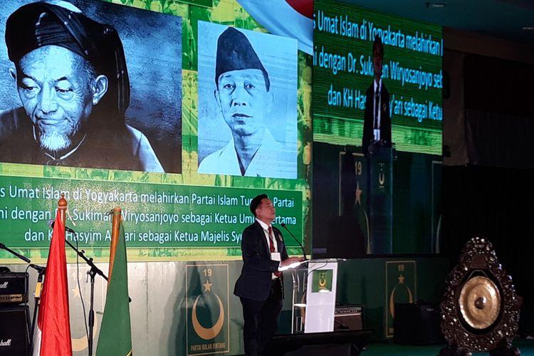 Ketua Umum PBB Yusril Ihza Mahendra di Rakornas PBB di Ancol, Jakarta, Minggu (27/1/2019).
