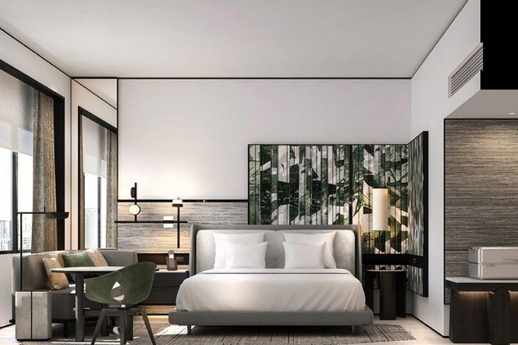 Salah satu kamar di dalam Hotel Hilton Singapore Orchad. Hotel ini rencananya akan resmi dibuka pada Januari 2022 mendatang.