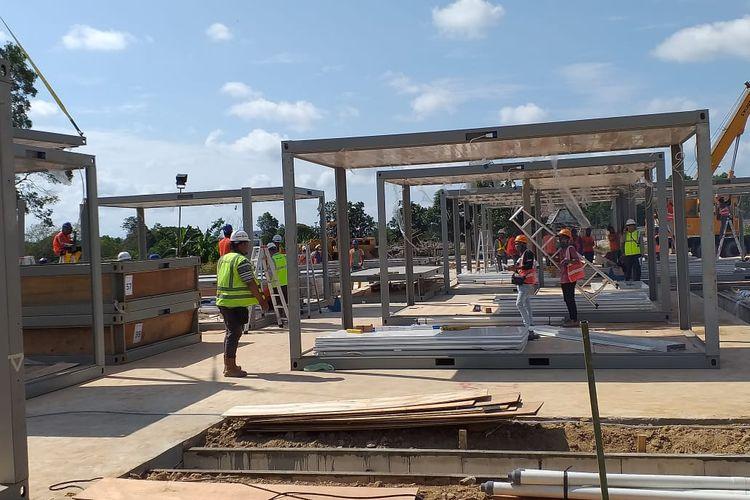 Progres pembangunan fasilitas observasi dan isolasi di Pulauu Galang sudah mencapai 50 persen pada Sabtu (21/3/2020)